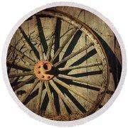 Old West Wagon Wheel Round Beach Towel