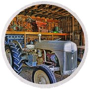 Old White Ford Tractor Round Beach Towel