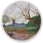 Old Willow And Boat Round Beach Towel