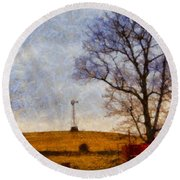 Old Windmill On The Farm Round Beach Towel
