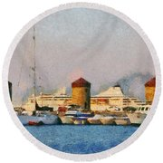 Old Windmills And Cruise Ship Round Beach Towel