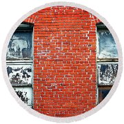 Old Windows Bricks Round Beach Towel
