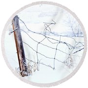 Old Wire Fence Round Beach Towel