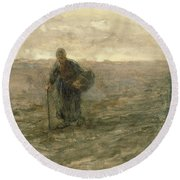 Old Woman On The Heath Round Beach Towel