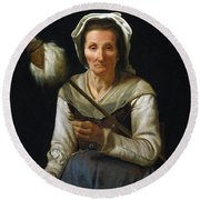 Old Woman Spinning, 1646-48 Round Beach Towel