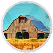 Old Wood Barn  Digital Paint Round Beach Towel