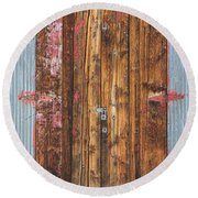 Old Wood Door With Six Red Hinges Round Beach Towel