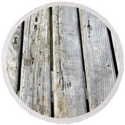 Old Wood Texture Round Beach Towel