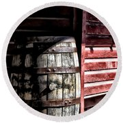 Old Wooden Barrel Round Beach Towel
