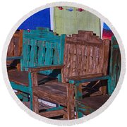 Old Wooden Benches Round Beach Towel
