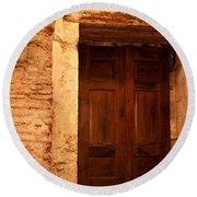 Old Wooden Doors Round Beach Towel