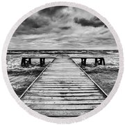 Old Wooden Jetty During Storm On The Sea Round Beach Towel