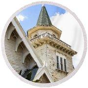 Old Wooden Victorian Chapel Church Steeple Fine Art Landscape Photography Print Round Beach Towel