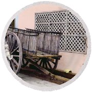 Old Wooden Wagon Round Beach Towel by Marilyn Hunt