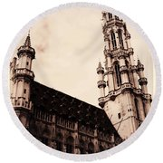 Old World Grand Place Round Beach Towel