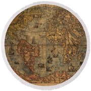 Old World Map Round Beach Towel by Dan Sproul
