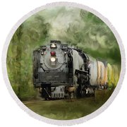 Old World Steam Engine Round Beach Towel