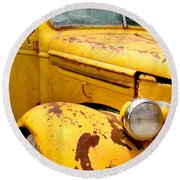 Old Yellow Truck Round Beach Towel