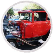 Oldie But Goodie - Classic Antique Car Round Beach Towel