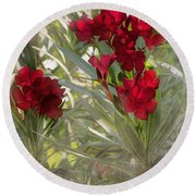 Oleander Blooms - A Touch Of Red Round Beach Towel