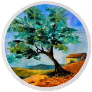 Olive Tree On The Hill Round Beach Towel by Elise Palmigiani