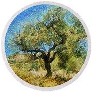 Olive Tree On Van Gogh Manner Round Beach Towel