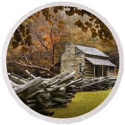 Oliver's Log Cabin During Fall In The Great Smoky Mountains Round Beach Towel