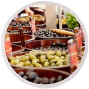 Olives In Barrels Round Beach Towel