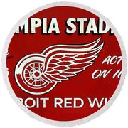 Olympia Stadium - Detroit Red Wings Sign Round Beach Towel