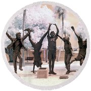 Olympic Wannabes Sculpture By Glenna Goodacre Near Infrared Round Beach Towel