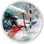 Olympics Canoe Slalom 02 Round Beach Towel by Miki De Goodaboom