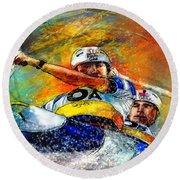 Olympics Canoe Slalom 04 Round Beach Towel by Miki De Goodaboom