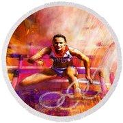 Olympics Heptathlon Hurdles 02 Round Beach Towel