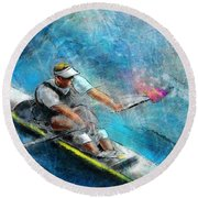 Olympics Rowing 01 Round Beach Towel