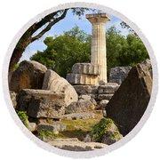 Olympus Ruins Round Beach Towel