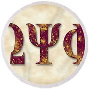 Omega Psi Phi - Parchment Round Beach Towel