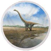 Omeisaurus Tianfuensis, An Euhelopus Round Beach Towel by Roman Garcia Mora