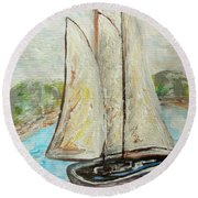 On A Cloudy Day - Impressionist Art Round Beach Towel