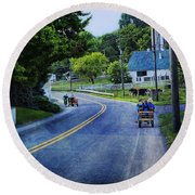 On A Country Road - Lancaster - Pennsylvania Round Beach Towel