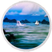On A Lazy Day Series 3 Round Beach Towel