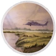On A Mission - Hh60g Helicopter Round Beach Towel