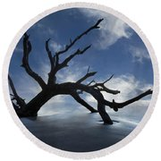 On A Misty Morning Round Beach Towel by Debra and Dave Vanderlaan