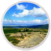 On A Mountain In Maine Round Beach Towel