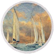 On A Windy Day Round Beach Towel