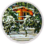 On A Winter Day Round Beach Towel
