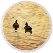 On Golden Pond Ducks Round Beach Towel