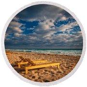 On Golden Sands Round Beach Towel