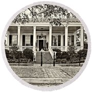 On Guard In New Orleans Sepia Round Beach Towel