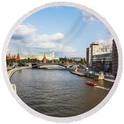 On Moscow River - Russia Round Beach Towel