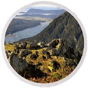 On Mount Roberts Round Beach Towel